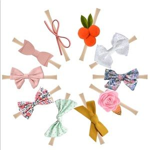 Set of 10 Felt Bow Headbands Toddler Baby Bows New